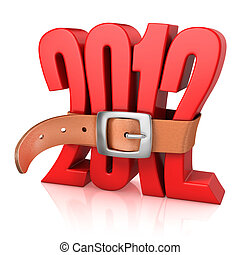 2012 year of recession - 3d illustration of 2012 year of...