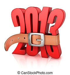 2013 year of recession - 3d illustration of 2013 year of...