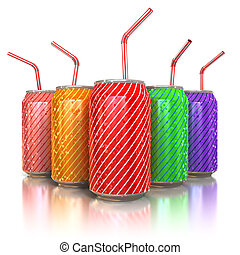colorful aluminum cans with straws - 3d illustration of...