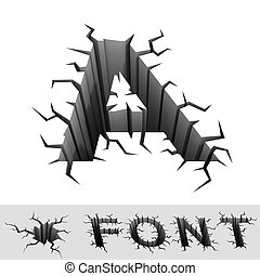 cracked font letter A - 3d illustration of cracked font...