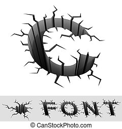 cracked font letter C - 3d illustration of cracked font...