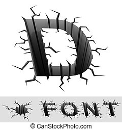 cracked font letter D - 3d illustration of cracked font...