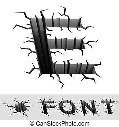 cracked font letter E - 3d illustration of cracked font...