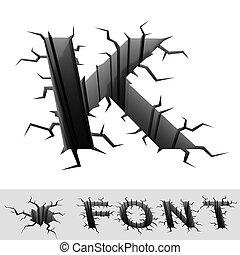cracked font letter K - 3d illustration of cracked font...