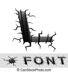 cracked font letter L - 3d illustration of cracked font...