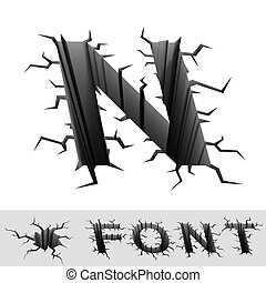 cracked font letter N - cradle 3d illustration of cracked...