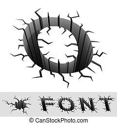 cracked font letter O - cradle 3d illustration of cracked...