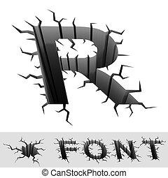 cracked font letter R - cradle 3d illustration of cracked...