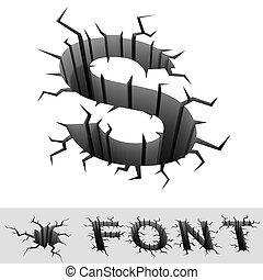 cracked font letter S - cradle 3d illustration of cracked...