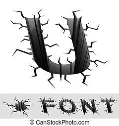 cracked font letter U - cradle 3d illustration of cracked...