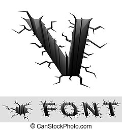 cracked font letter V - cradle 3d illustration of cracked...
