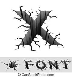 cracked font letter X - cradle 3d illustration of cracked...