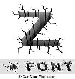 cracked font letter Z - cradle 3d illustration of cracked...