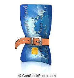 credit card with tighten belt - 3d illustration of credit...