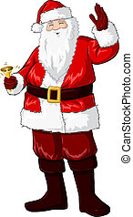 Santa Claus Holding Bell And Waving For Christmas - A vector...