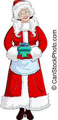 Mrs Santa Claus Holding A Present For Christmas - A vector...