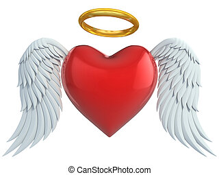 angel heart with wings and golden halo 3d illustration