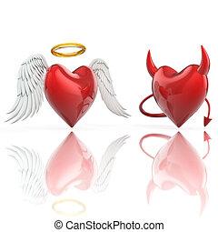 angelo, cuore, diavolo, cuore