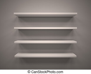 Empty shelves - 3d illustration of Empty shelves