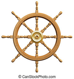 3d ship wheel isolated on white background