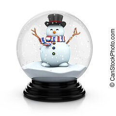 snowdome snowman - 3d illustration of snowdome snowman