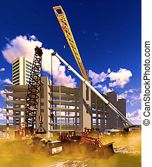 Construction site with white clouds ibehind