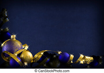 Dark blue christmas - Golden baubles and ribbons on a dark...