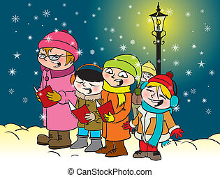 Caroling kids - Vector illustration of a group of kids...