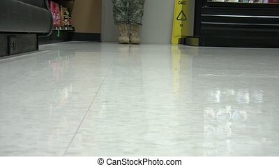 Military Boots Walking Towards - Military personnel wearing...