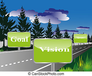 Business Vision and Goal Design 1 - a Vector Illustration...