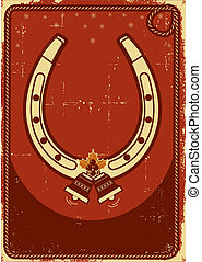 christmas card background with lucky horseshoe and bells on...