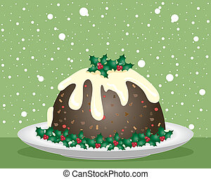 christmas pudding - an illustration of a christmas pudding...