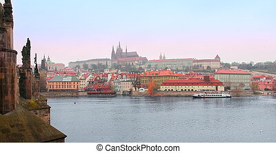 Panorama view old Praga town buildings near Charles Bridge....