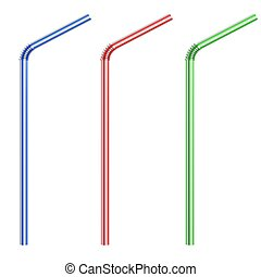 Colorful drinking straws isolated - 3d illustration of...