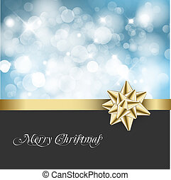 Christmas abstract background card - Golden ribbon with bow...
