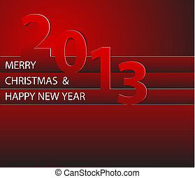 Happy New Year 2013 vector card - Red Happy New Year 2013...