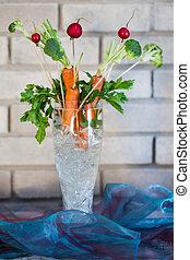 ikebana, florero, vidrio, zanahoria, decoraciones, bayas
