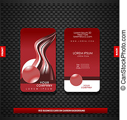 Red business card on carbon background