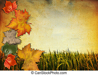 old antique vintage paper background with autumn leaf