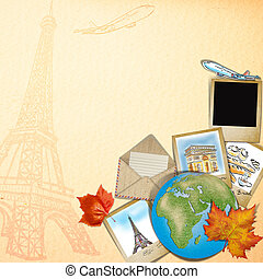 drawing famouse landmark of France in photo frame
