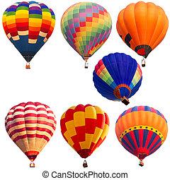 isolado, coleções, quentes, ar, balloon,...
