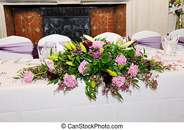 Wedding reception decoration - table at wedding reception...