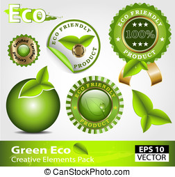Green ecofriendly design elements - Green ecofriendly design...