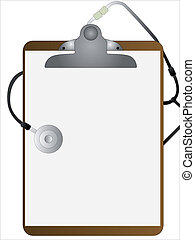 Medical Clipboard - A hospital bed clipboard with a...