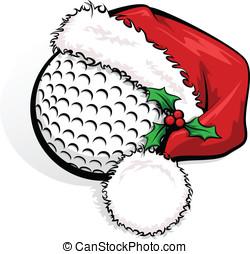 Golf Santa Cap - Color vector illustration of a golf ball...