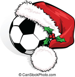 Soccer or Football Santa Cap - Color vector illustration of...