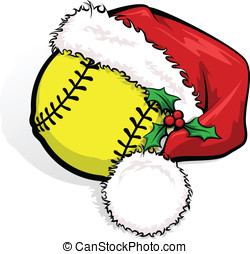 Softball Santa Cap - Color vector illustration of a softball...