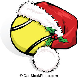 Tennis Santa Cap - Color vector illustration of a tennis...