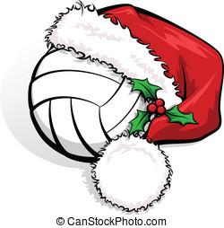 Volleyball Santa Cap - Color vector illustration of a...