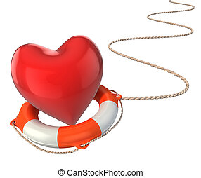 saving love marriage relationship 3d concept - heart on...